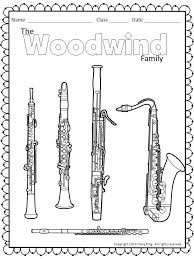 Woodwind Family coloring sheet