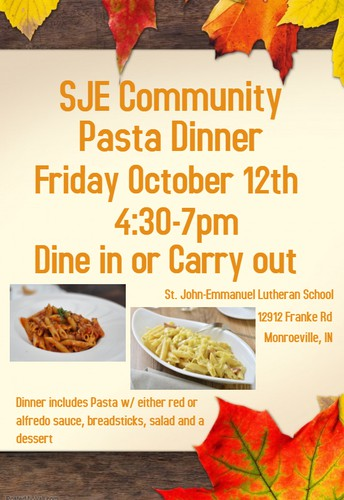 SJE Community Pasta Dinner