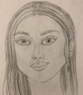 pencil portrait of girl with long hair