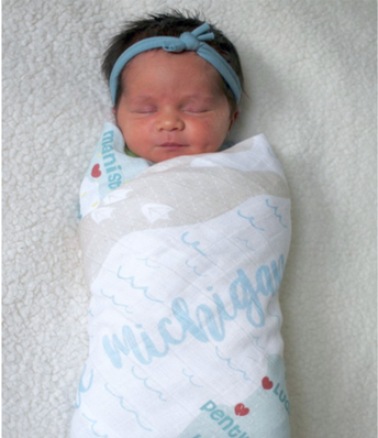 Michigan Map Swaddle