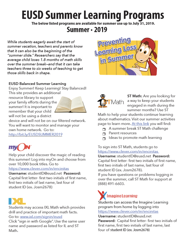 EUSD Summer Learning Programs