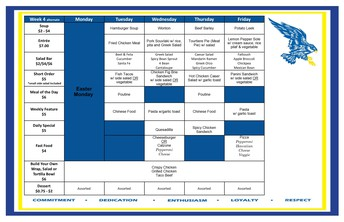 Cafeteria Menu April 6-9