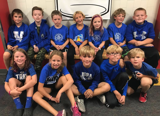 Mrs. Gams' class showing their Mustang Pride!