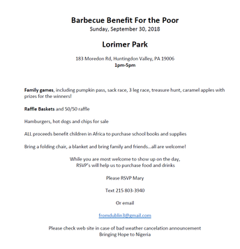 Barbecue Benefit for the Poor