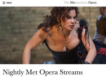 Met Opera Schedule for Nightly Live Stream