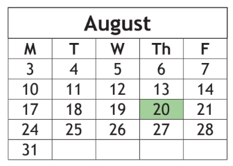 Start date now Aug. 20