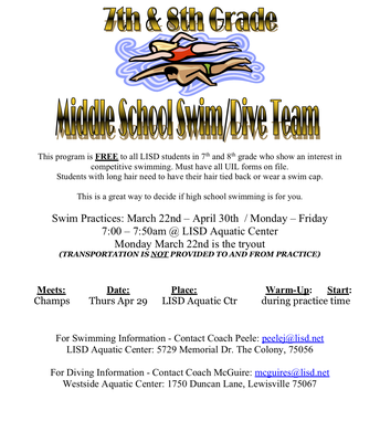 7th/8th grade LISD Swim/Dive Team