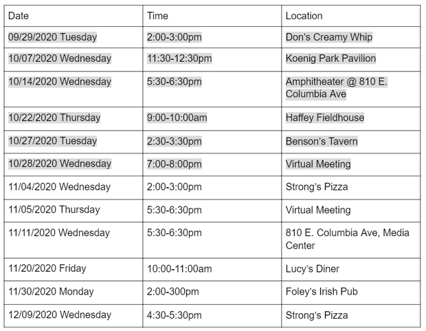 Schedule of available community chats. Follow link to learn more.