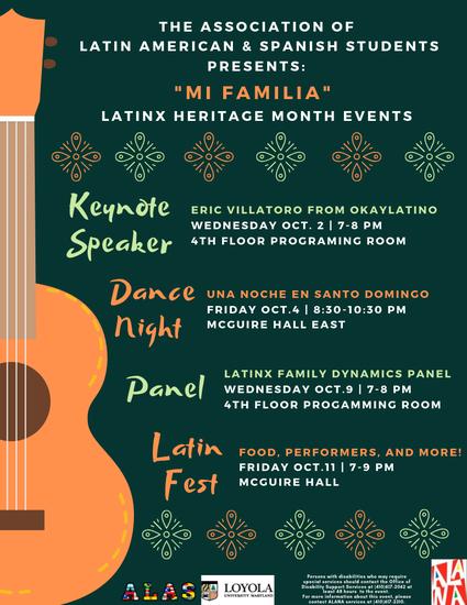"ALAS presents ""Mi Familia"" Latinx heritage Month"