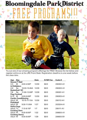 FREE Park District Programs
