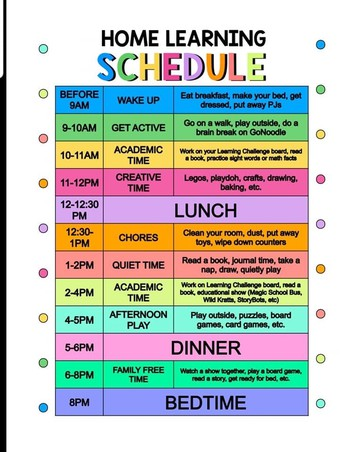Daily Home Learning Schedule