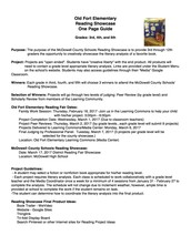 Reading Projects - Grades 3rd, 4th, & 5th