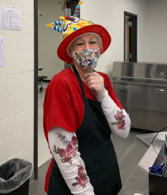 lunchroom lady in her hat