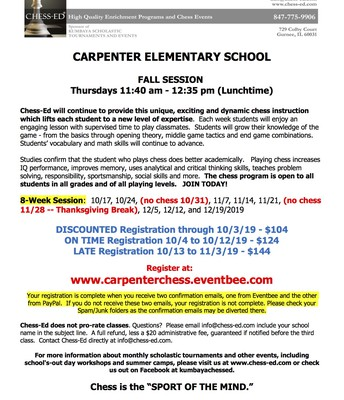 Carpenter Chess Club Flyer