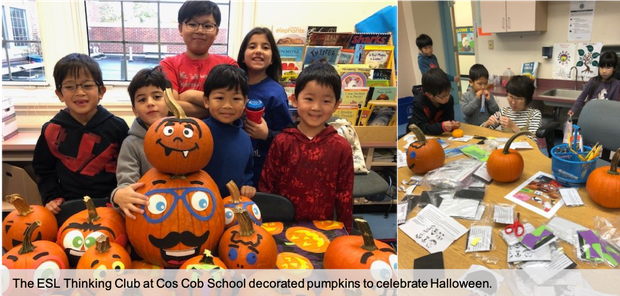 Cos Cob School's ESL Thinking Club Students pose next to their decorated pumpkins