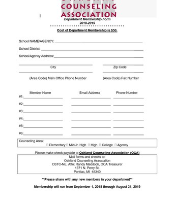 Department Membership Form