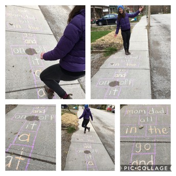 Mrs. Ross practicing her sight word hopscotch
