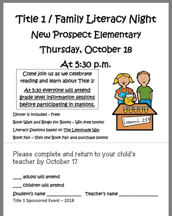 Literacy Night/Title 1 Info- Oct 18th @ 5:30