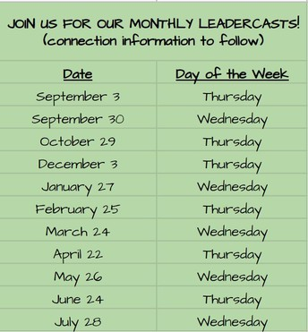 Leadercast Dates (Monthly Webinars)