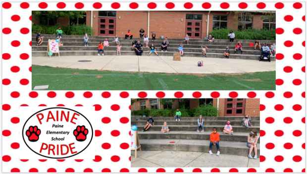 Paine Pride graphics - students on stairs