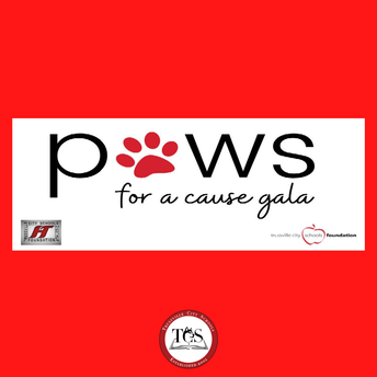 Paws for a Cause Gala official logo PAWS' letter a uses a paw print