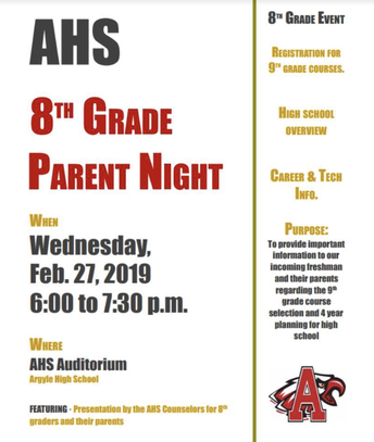 8th GRADE PARENT NIGHT - FEB. 27TH