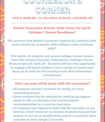 Please see the following flyer for the counselor report for April.