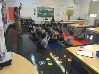 Kindergarten class excited to answer questions
