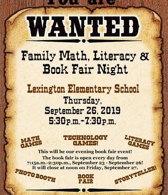 Family Math, Literacy, and Book Fair Night