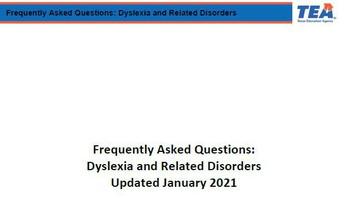 TEA Dyslexia FAQ Update