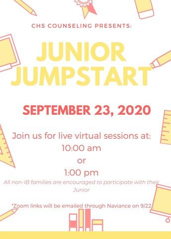 Junior Jumpstart! Live presentation w/ Q&A on  9/23 10am & 1pm