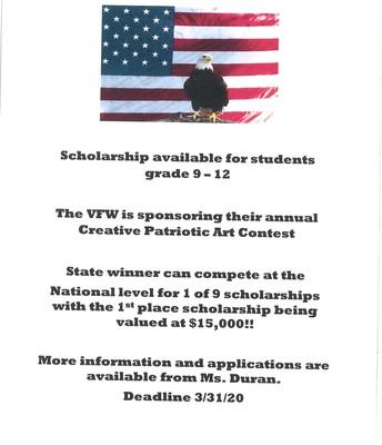 VFW Patriotic Art Contest - Deadline March 31st