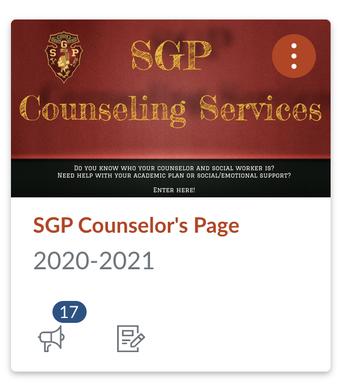 SGP Counseling Services Canvas Card