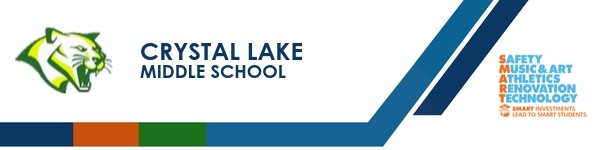 A graphic banner that shows Crystal Lake Middle School's name and SMART logo
