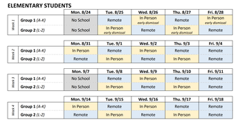 Calendar for the First 4 Weeks