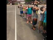 Class observing the eclipse!