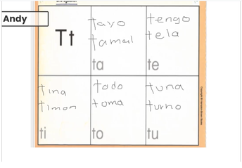 Learning words in Spanish with the letter T