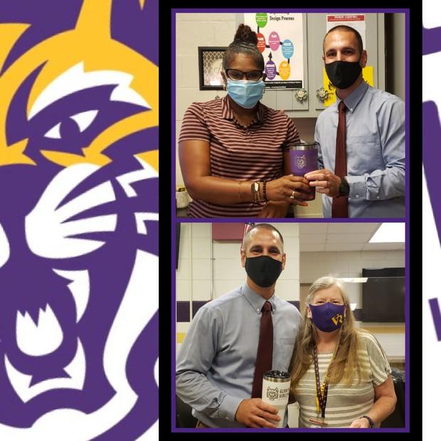 Principal, Mr. Grainger with Shenoka Almon and LInda Stooksbury