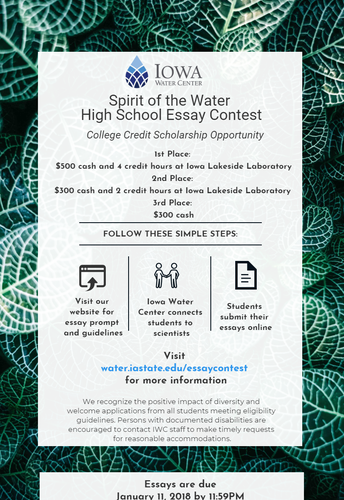 Iowa Water Center Essay Contest now open for High School Students