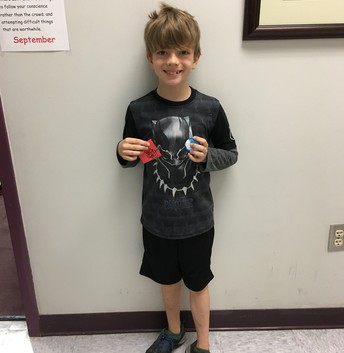 Sammy earned a Red Raider prize!