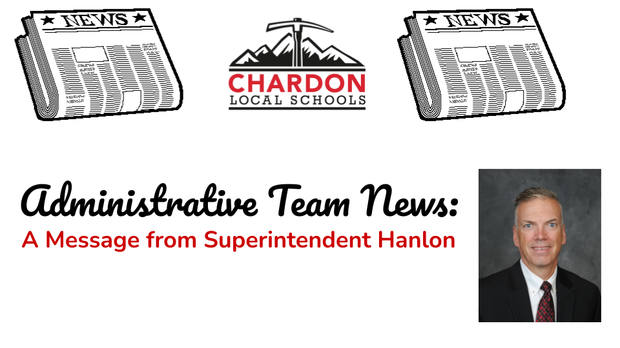 Newspaper graphics, Chardon Schools logo, Superintendent Hanlon photo