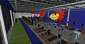 Architect's picture of the inside of the new UHS Fitness Center.