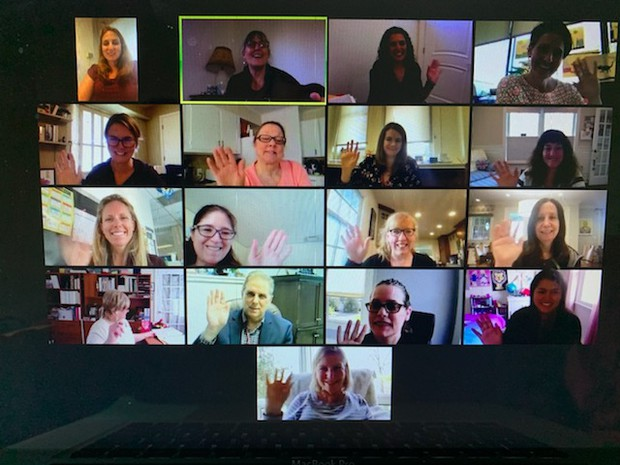 Distinguished Teachers Committee Members wave during their virtual meeting
