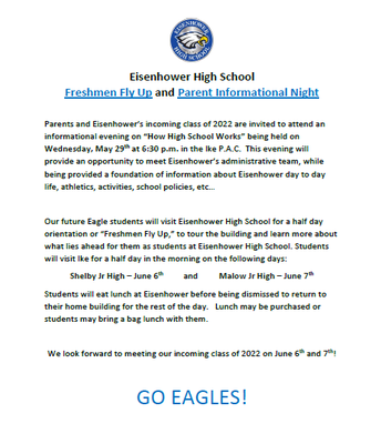 EISENHOWER HIGH FRESHMAN FLY UP AND PARENT INFORMATIONAL NIGHT