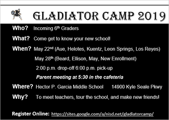 Incoming 5th Graders:  Gladiator Camp 2019