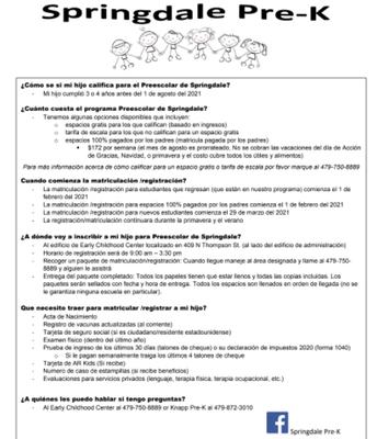 Prek Flyer (Spanish)