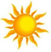 East Ridge logo, yellow sun, orange rays