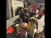 Lined up for the Halloween parade