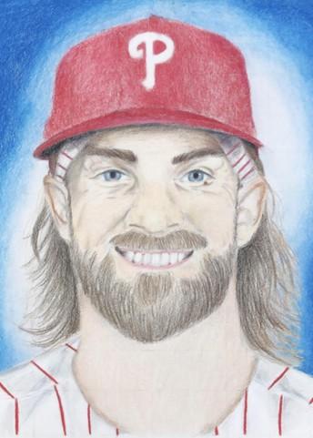 Kenzie Sawadski's Bryce Harper portrait was a winner in the Phillies 2020 Drawing Contest