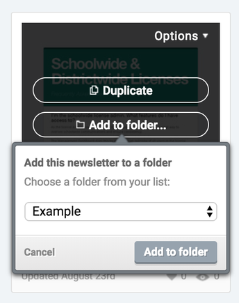 Shortcut for Adding Newsletters into folders